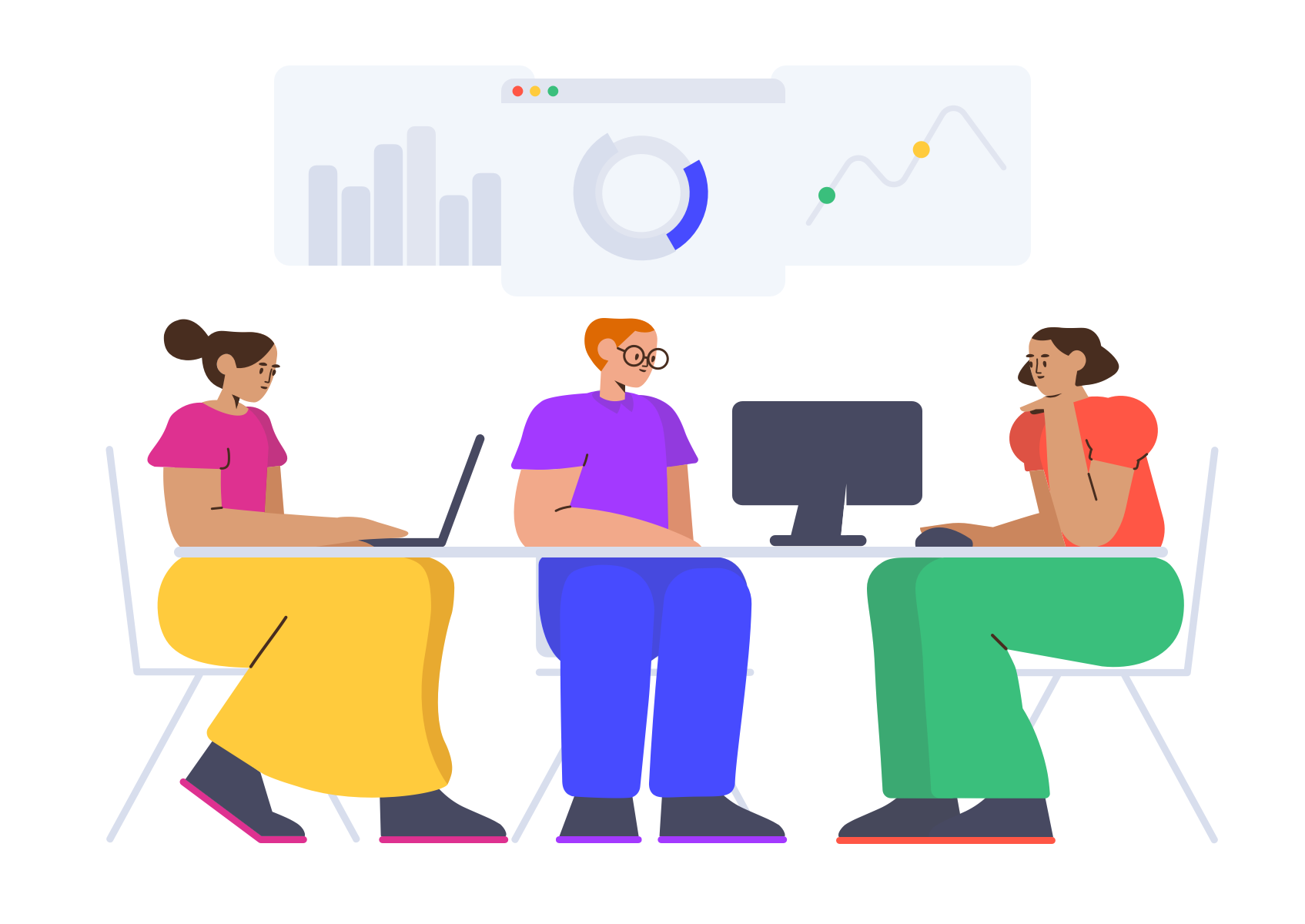 Three illustrated figures looking at data spreadsheets
