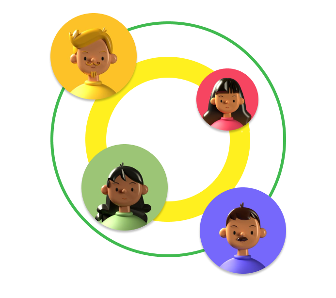 Four illustrated headshots, arranged overlaying two circular rings