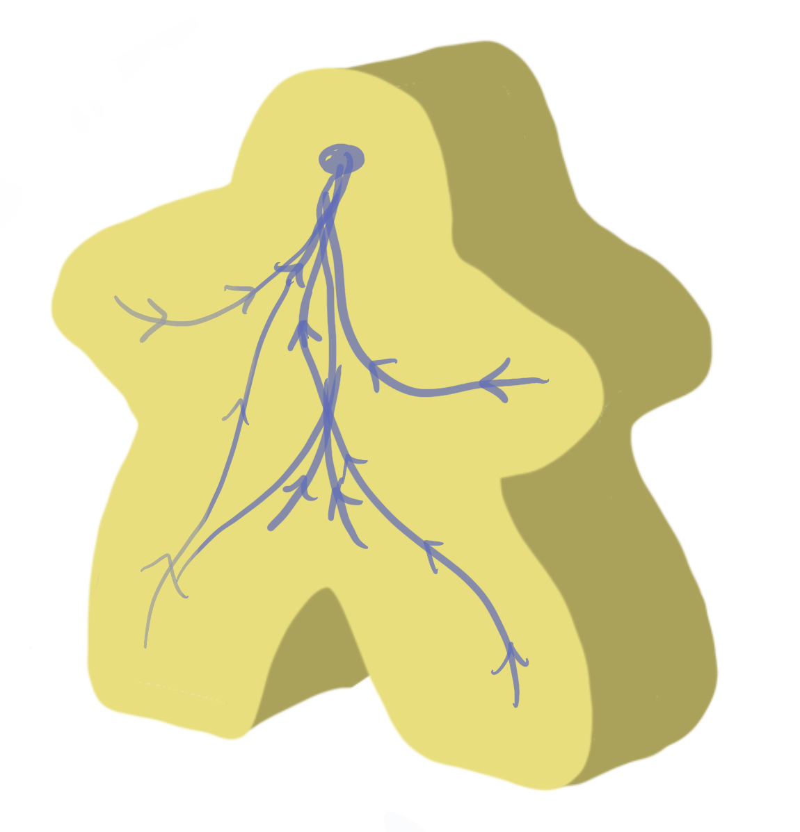 A meeple with a nervous system exposed
