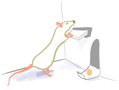 Illustration of rat pressing bar and getting pellet of food