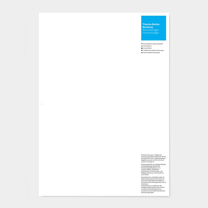 Briefpapier Versicherungsmakler