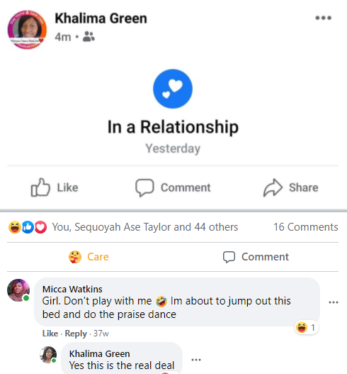 Khalima's relationship post