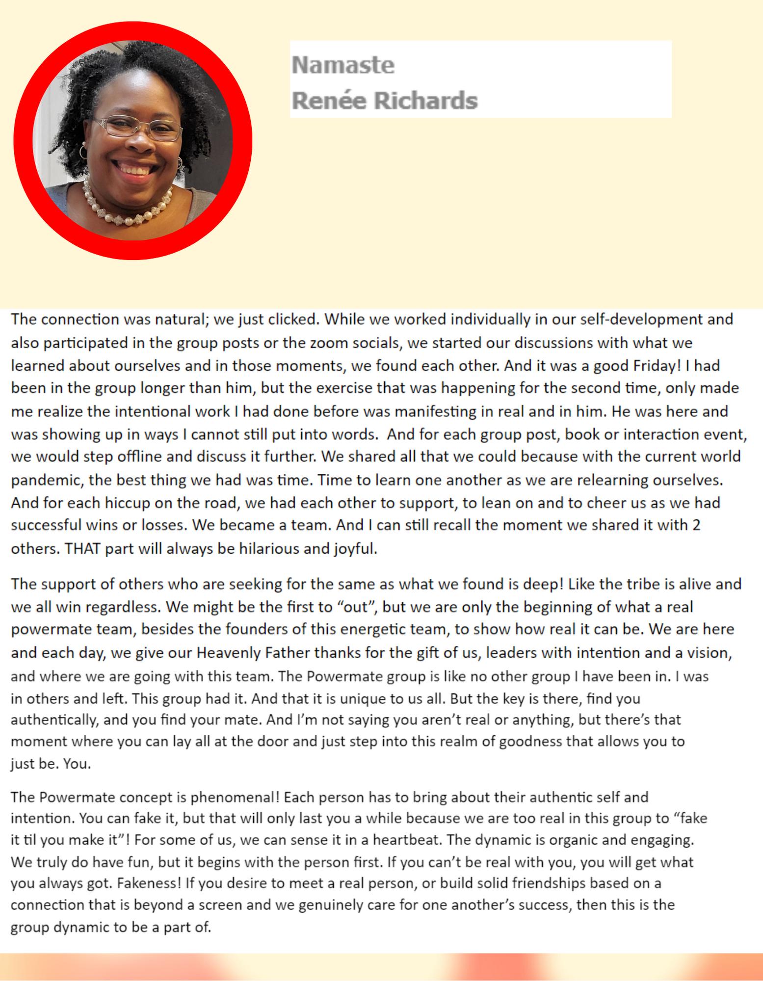 Renee's amazing testimonial