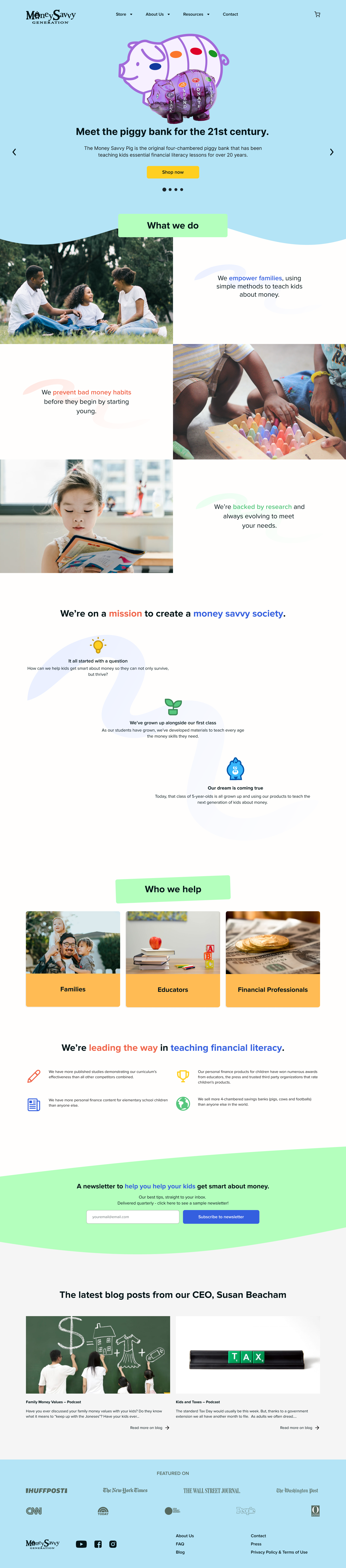 An image of the landing page for Money Savvy Generation