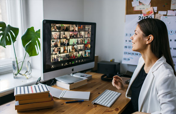 A young woman on a zoom call