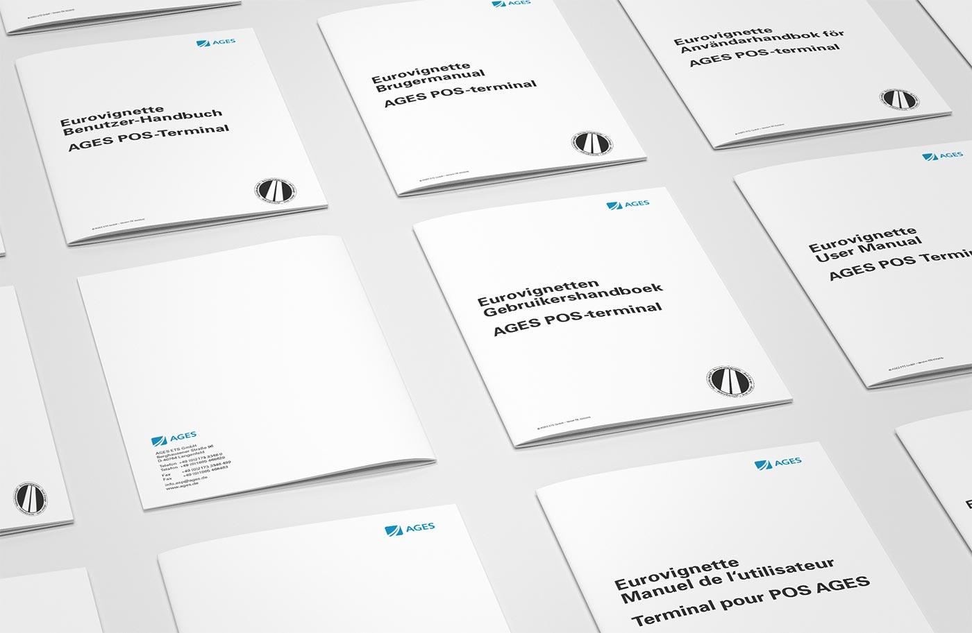 Gestaltung einer Bedienungsanleitung für POS-Terminals und Lokalisierung in fünf Sprachen.