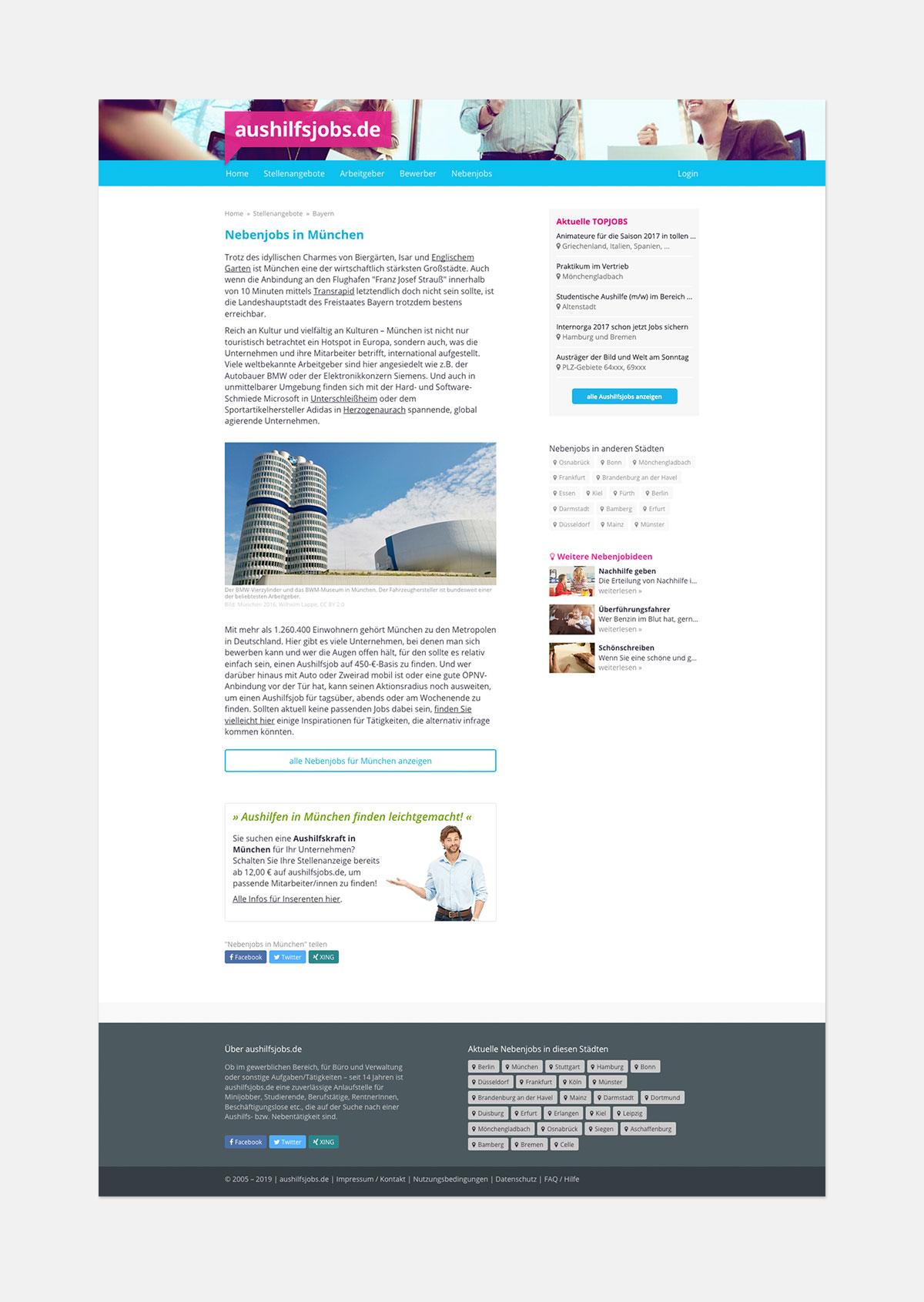 Stellenportal – Landing Page