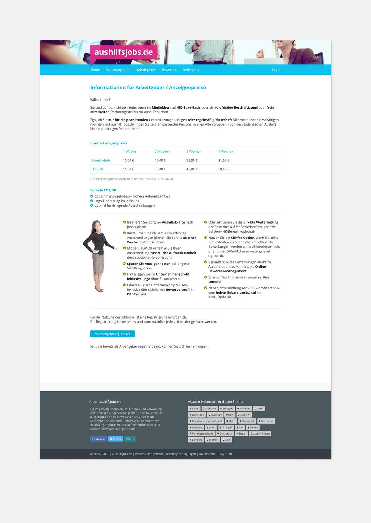 Stellenportal – Preisliste Inserieren