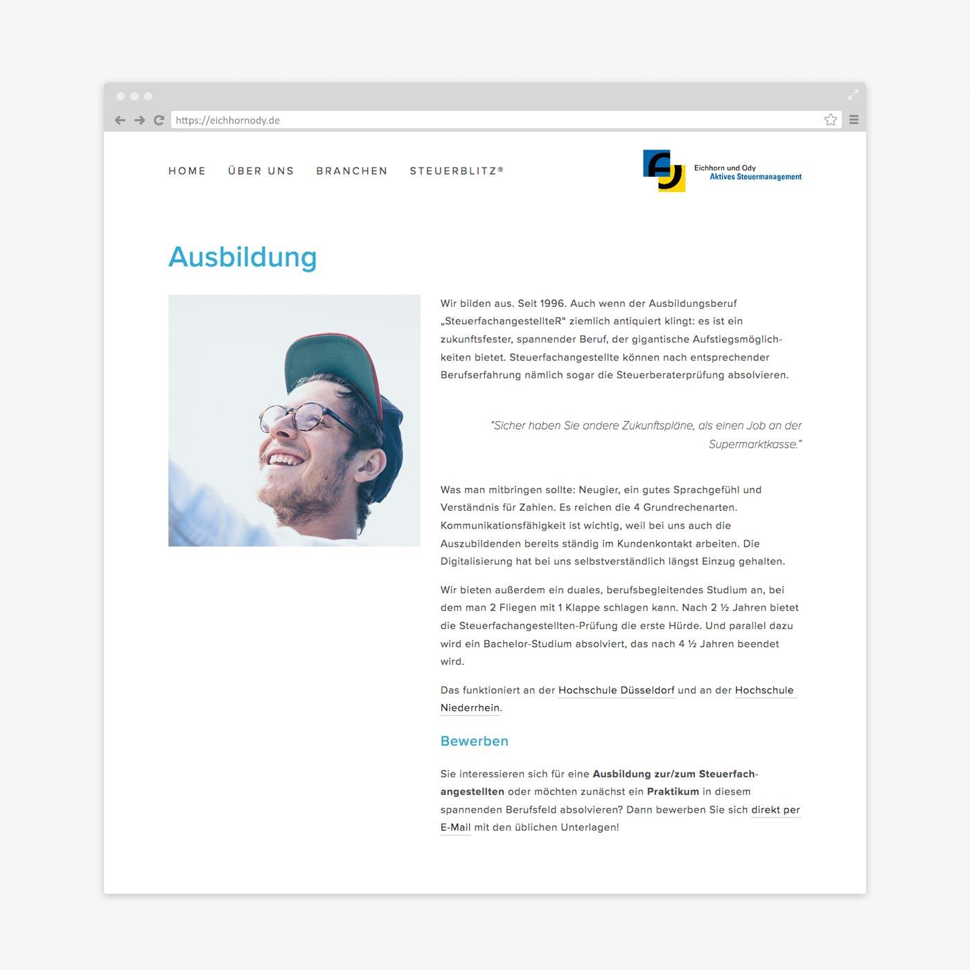 Website Steuerberater – Ausbildung
