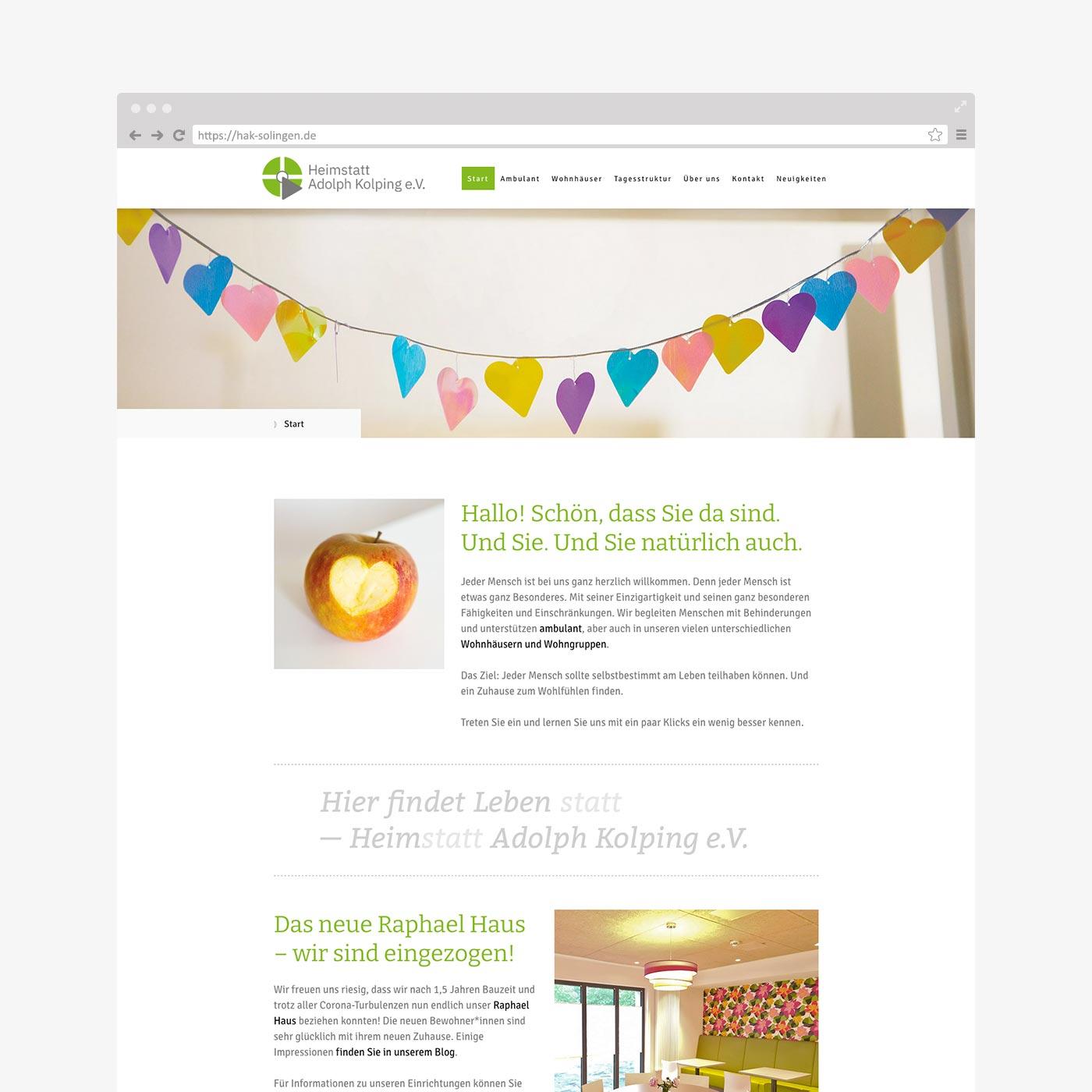 Website Heimstatt Adolph Kolping – Startseite