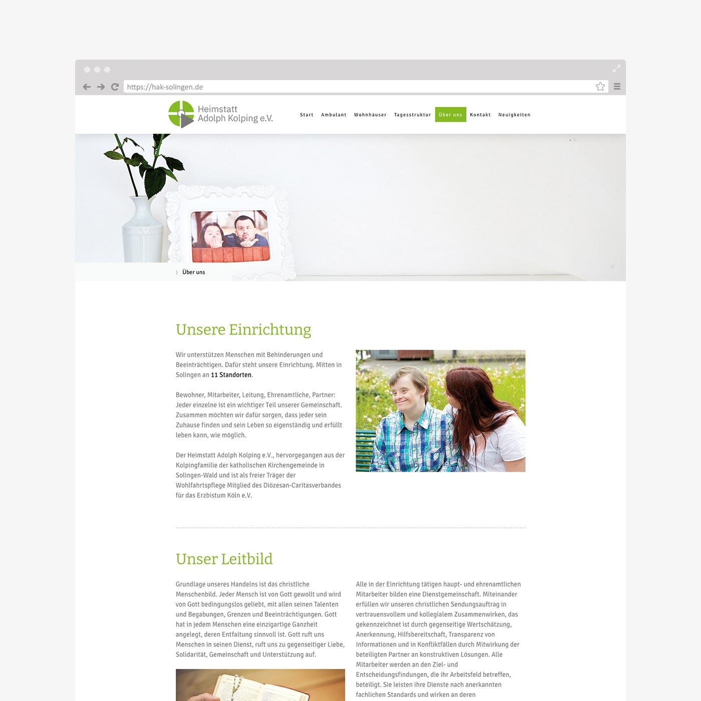 Website Heimstatt Adolph Kolping – Über uns