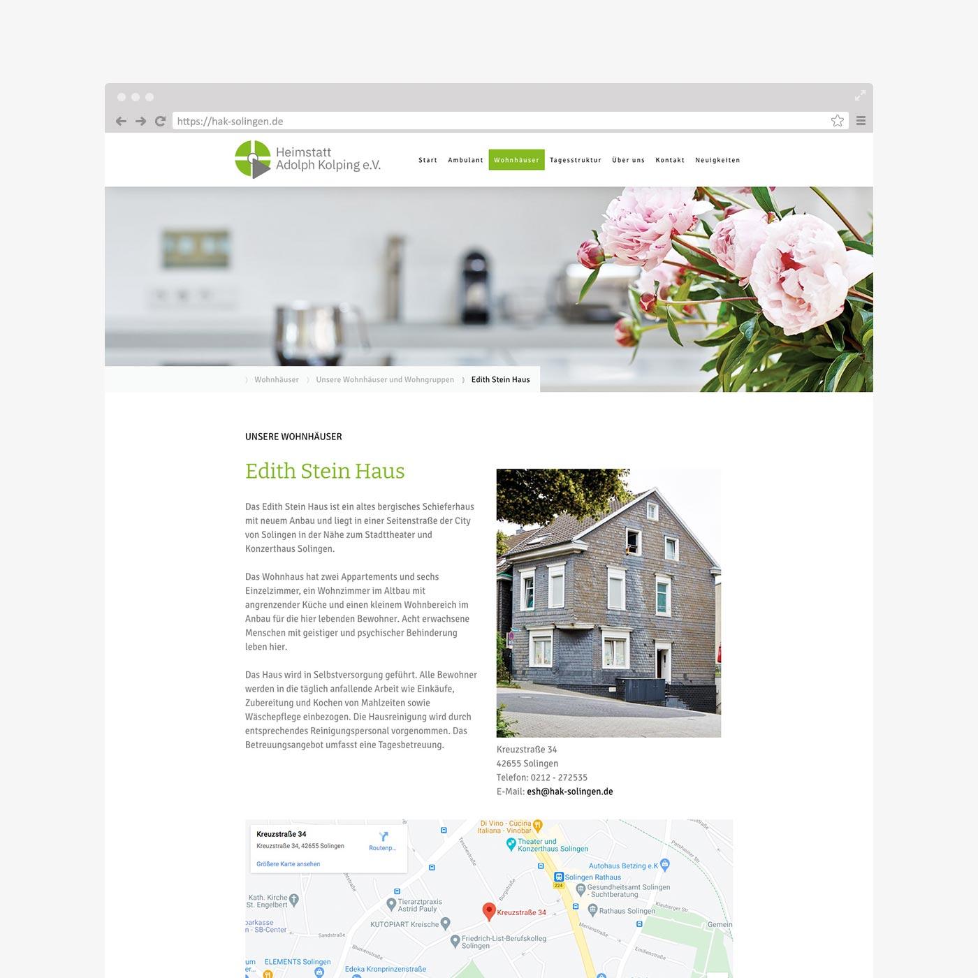Website Heimstatt Adolph Kolping – Detailseite Wohnhäuser