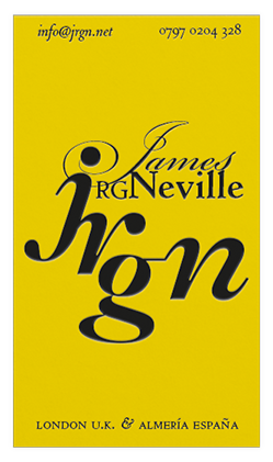 A royal yellow business card, featuring a classical name and monogram in the centre. On the top edge there is an email address and phone number in italics. On the bottom edge there is the words London U.K. & Almería España in small caps (capitals). The business card is in a portrait or vertical orientation.