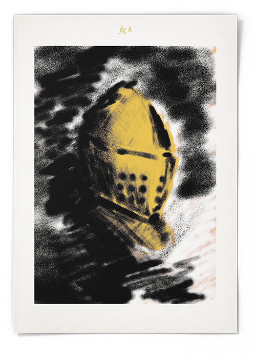 A digital airbrushed painting of a yellow medieval helmet on a black and white background. The image has aa title of 'fig.8'