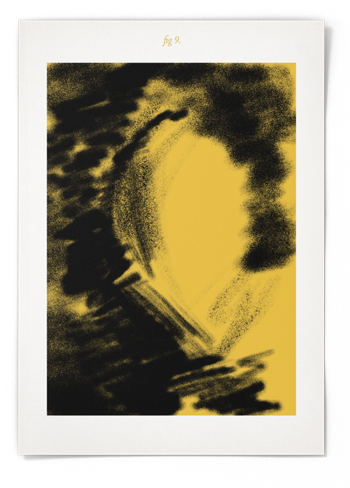 A digital airbrush painting of the negative space left by an invisible medieval helmet. The painting is yellow, black and white. The image has a title of 'fig.9'