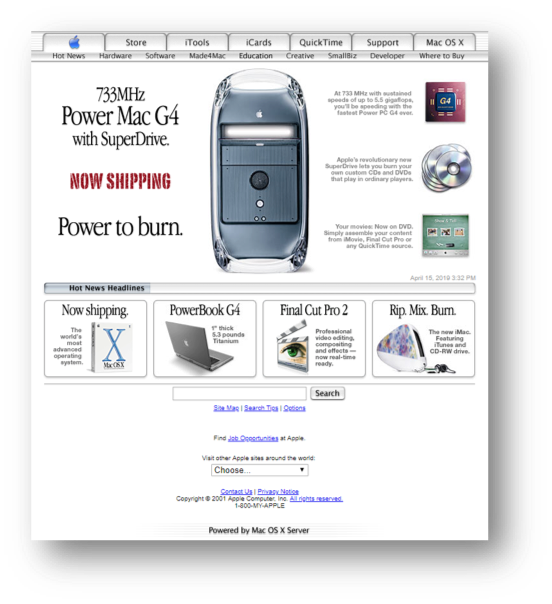 Apple Homepage in 2001