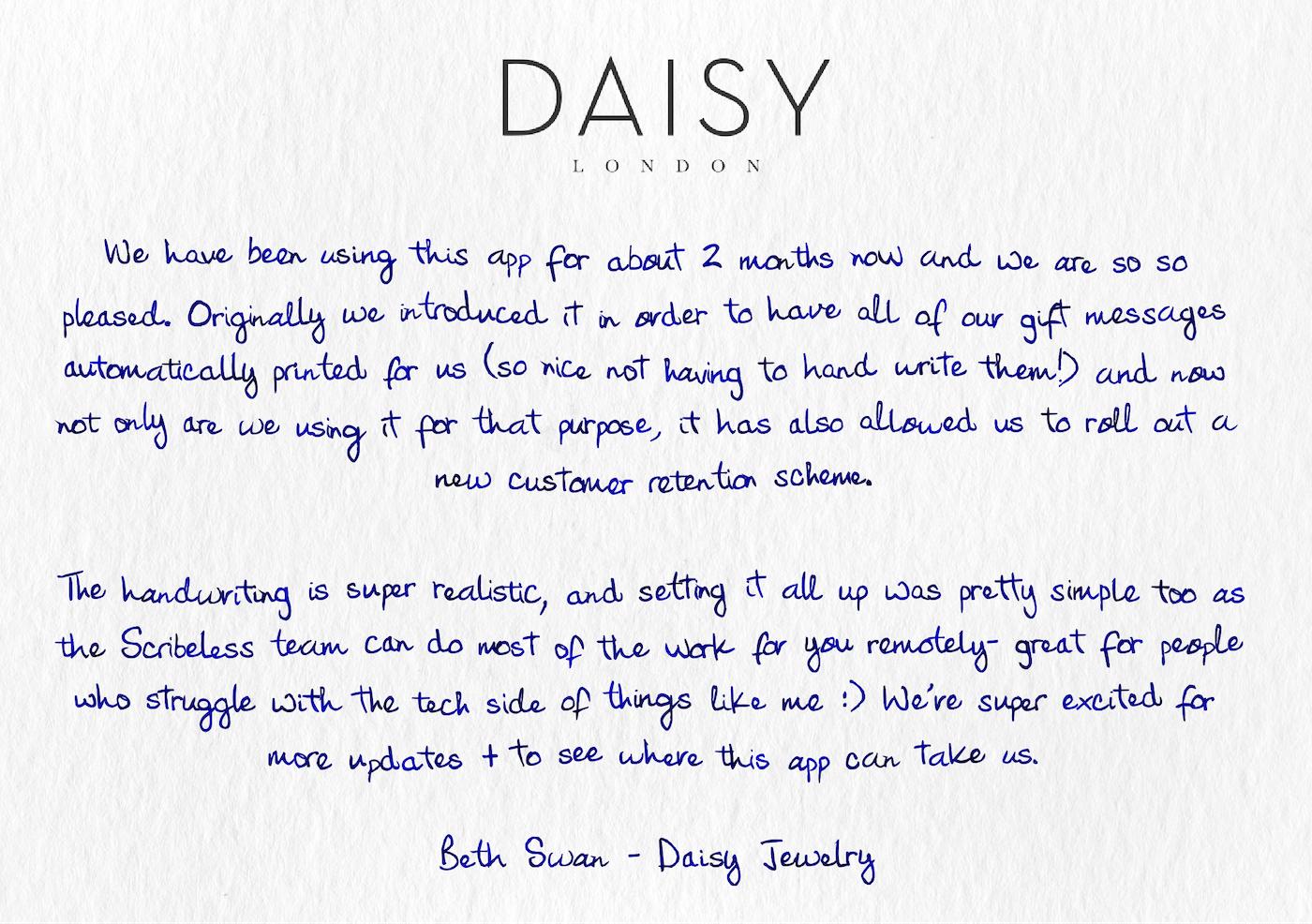 Daisy Jewelry testimonial on a handwritten note
