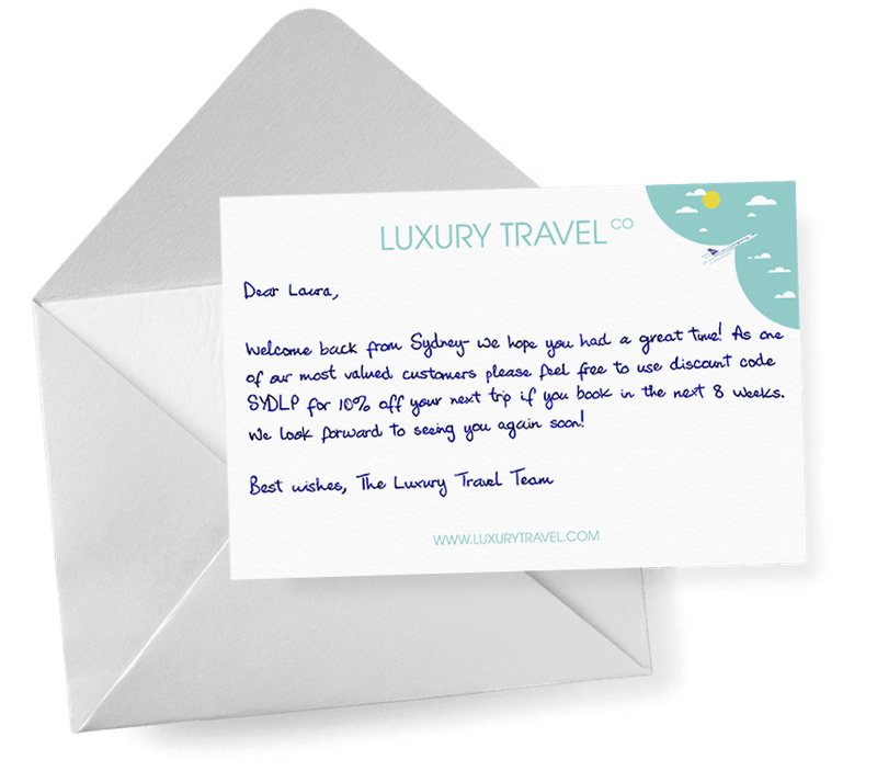 A handwritten thank you note from a travel company
