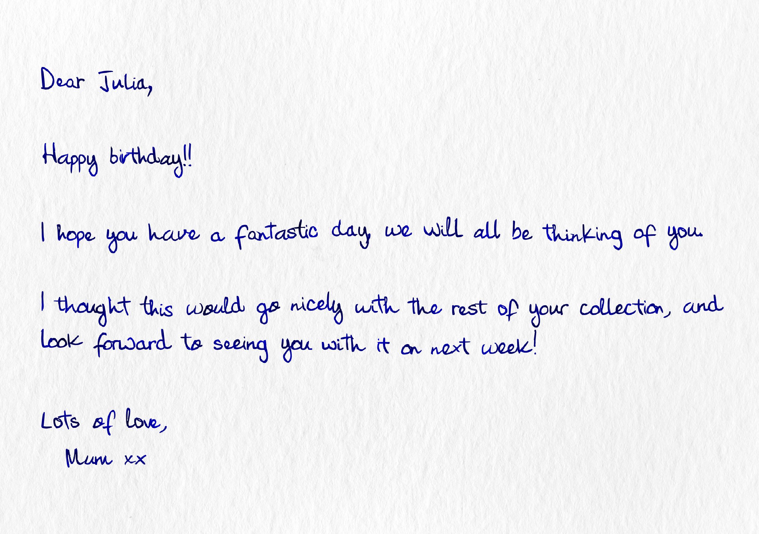 A handwritten gift note