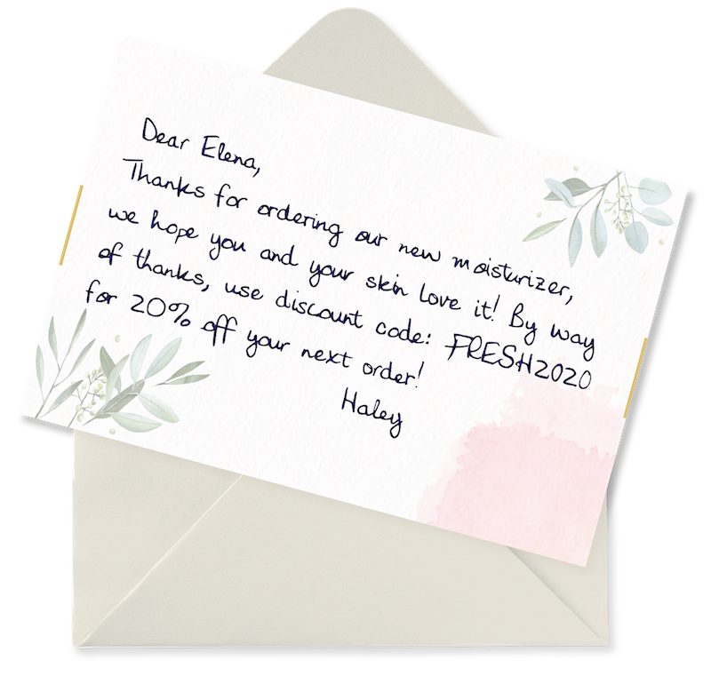 A handwritten thank you note from an ecommerce store