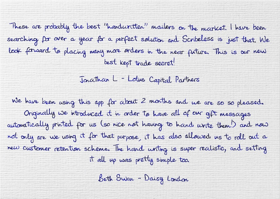 Testimonials from Scribeless customers on a handwritten note