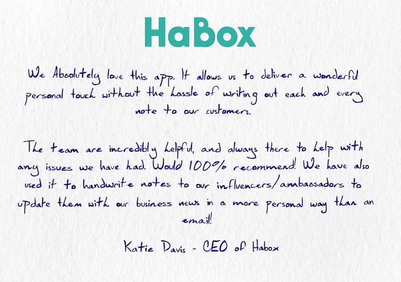 HaBox testimonial on a handwritten note