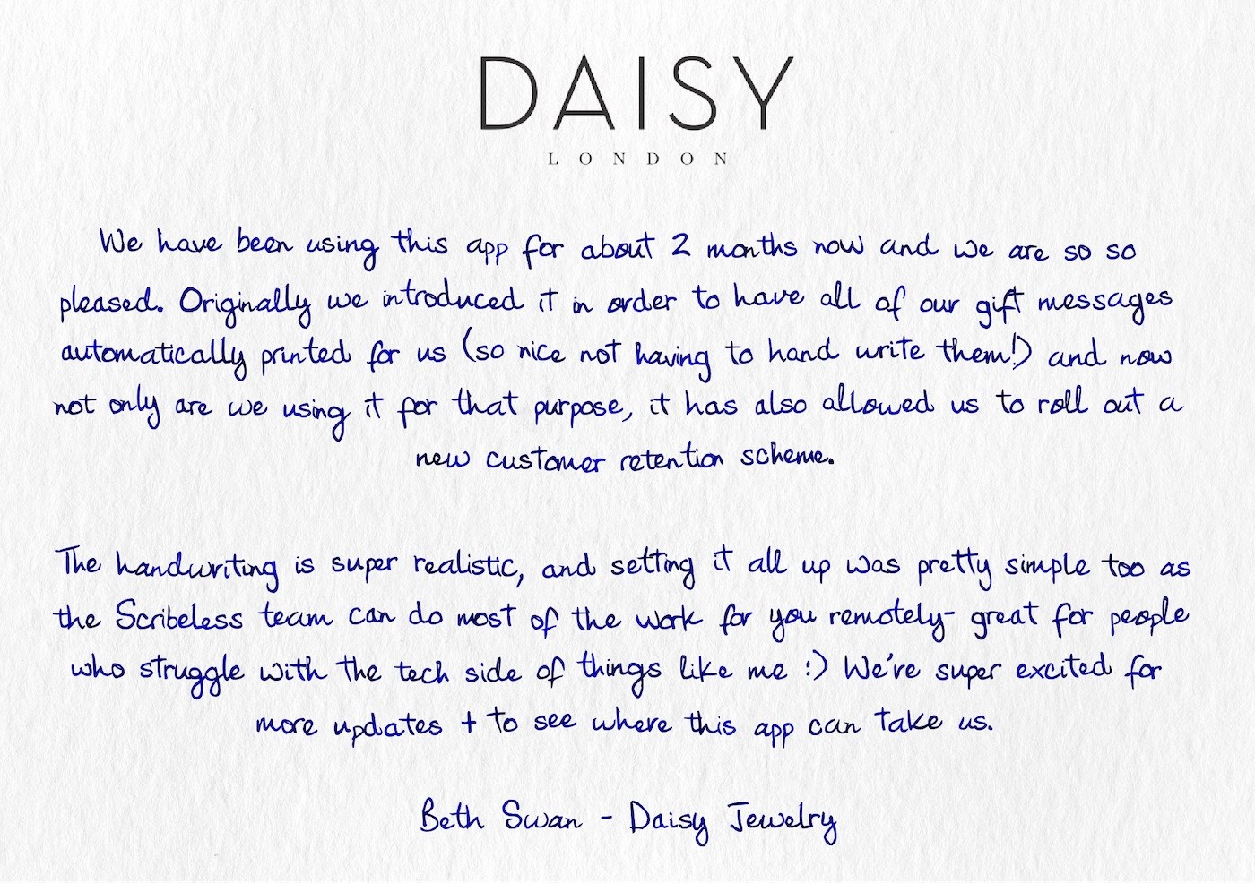 Daisy Jewelry's testimonial on a handwritten note.