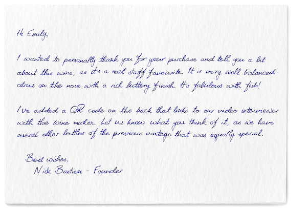A handwritten thank you note from a wine ecommerce store