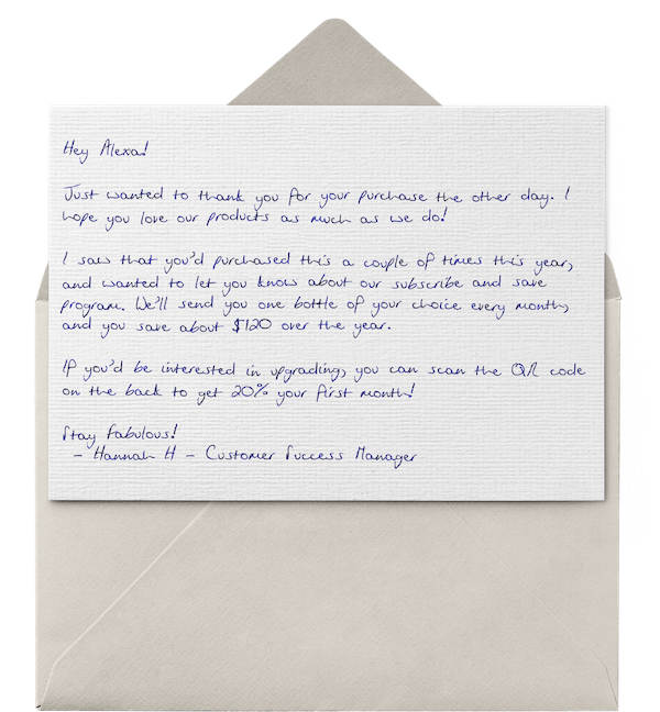 A handwritten thank you note from an ecommerce beauty brand