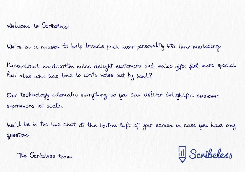 Scribeless team handwritten welcome note.