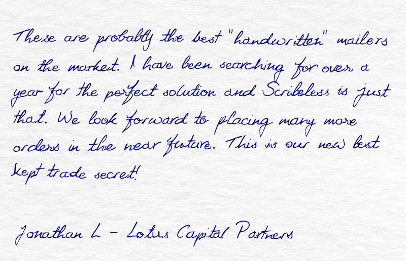 Testimonials from Scribeless customers on a handwritten note