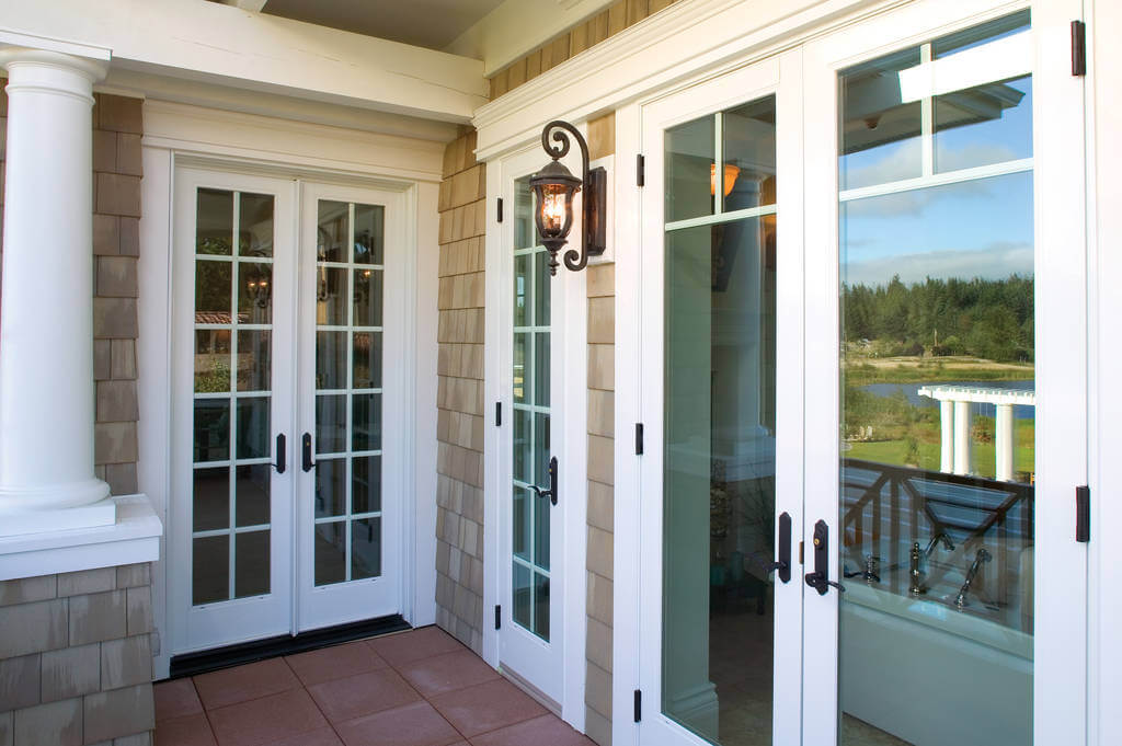 french patio doors in white with grids