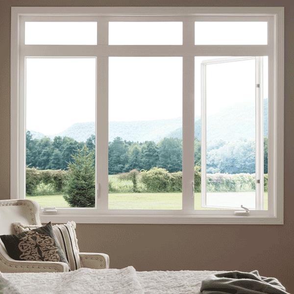 casement windows in vinyl frame