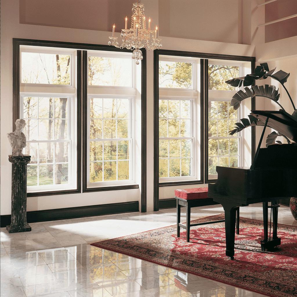 fiberglass windows in living room