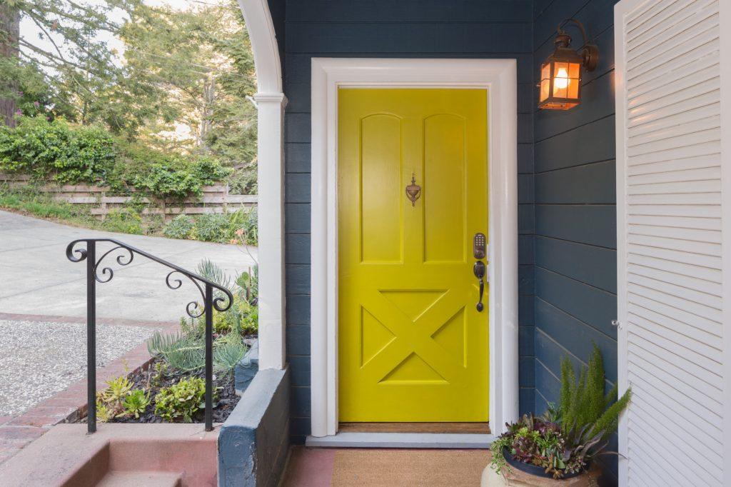 fiberglass front door in yellow