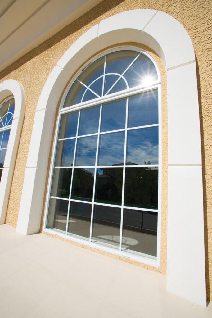 aluminum radius window with grid