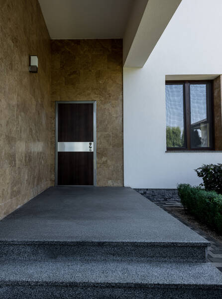 entry door on contemporary house