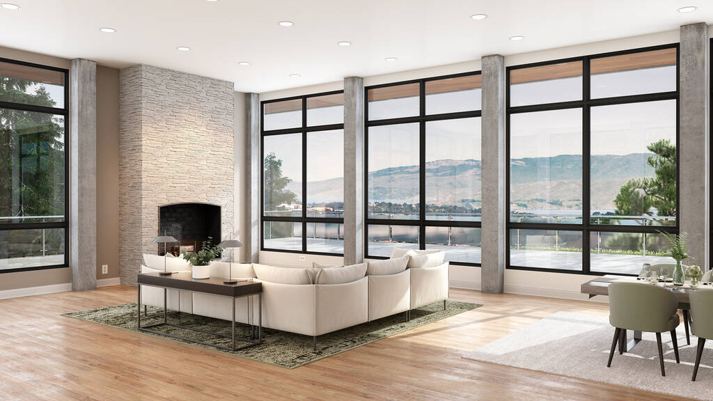 fiberglass windows in modern home with a view