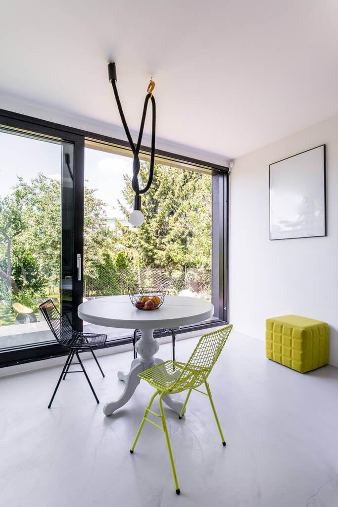 modern sliding door in dining room