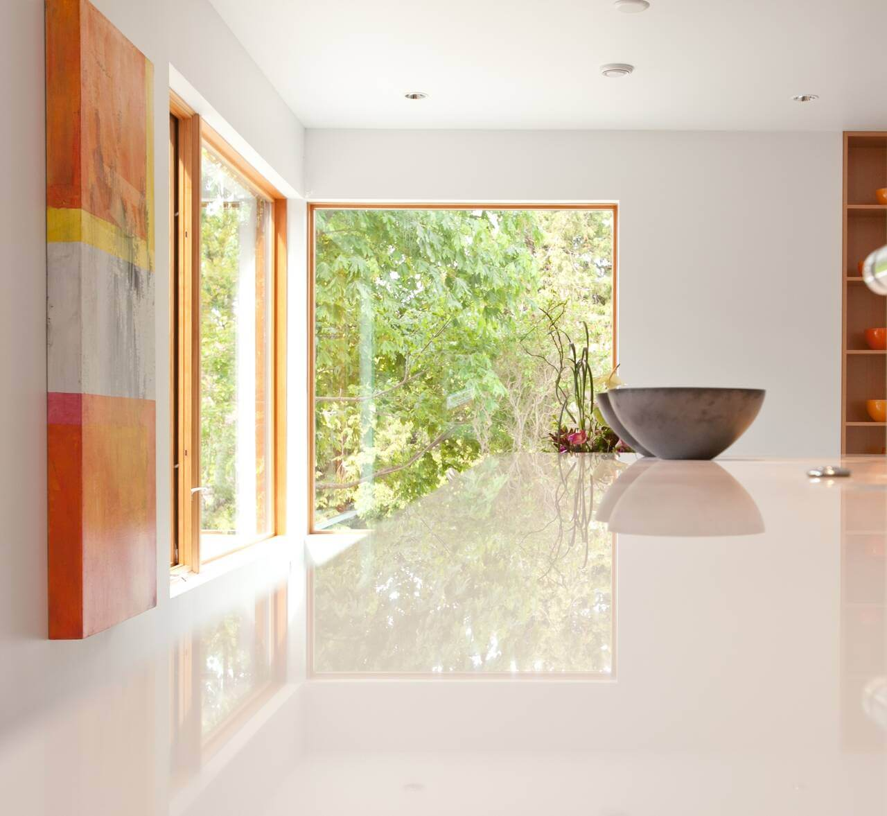 sliding door in spacious modern kitchen