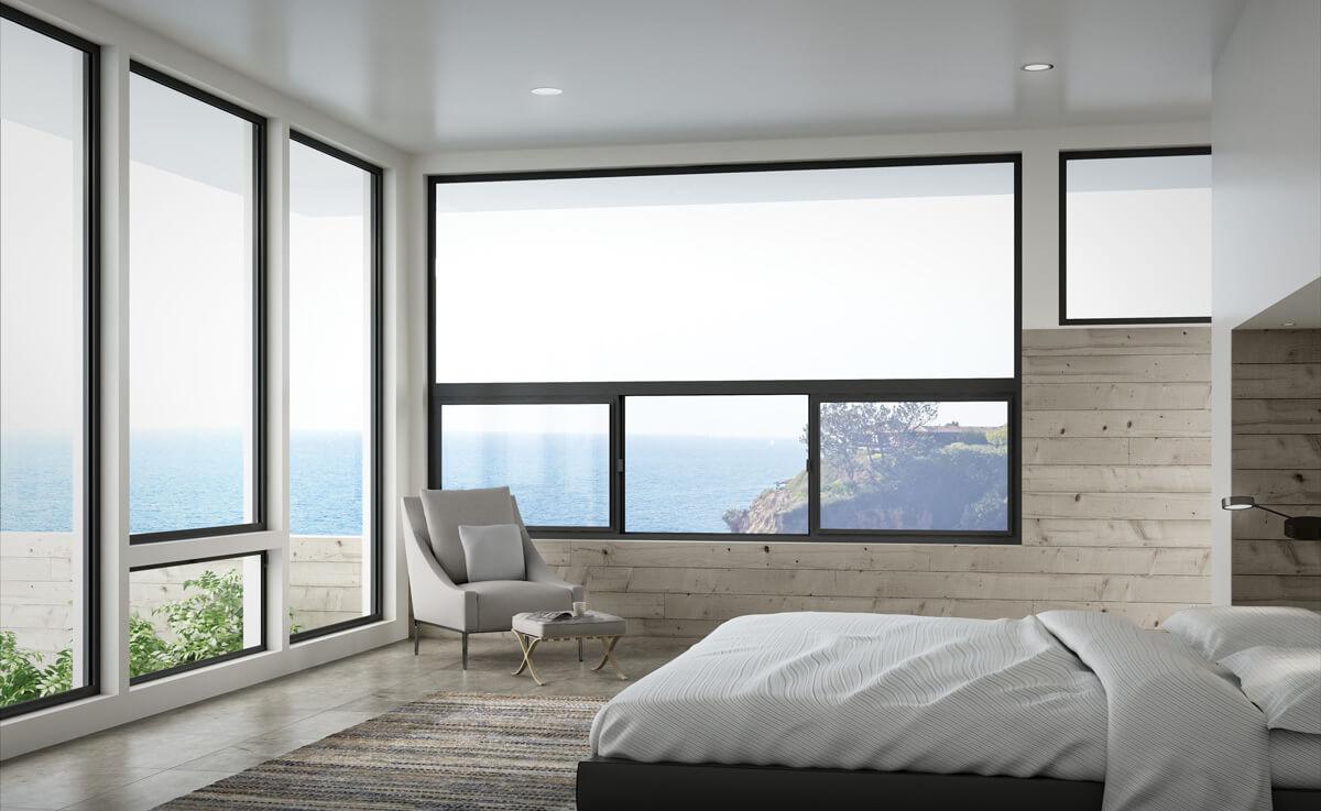 beach house with aluminum windows