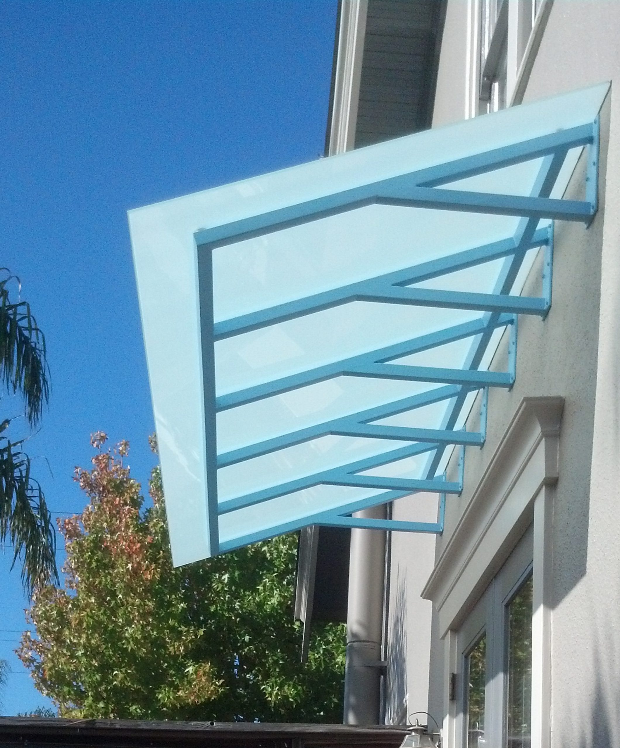 Satin Glass Awning with Custom Powdercoated Metal