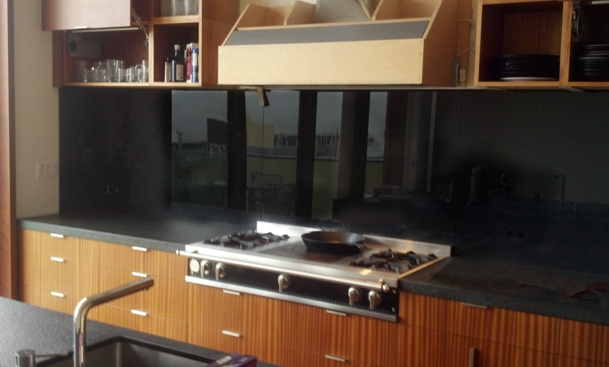 Black Backpainted Glass Kitchen Backsplash