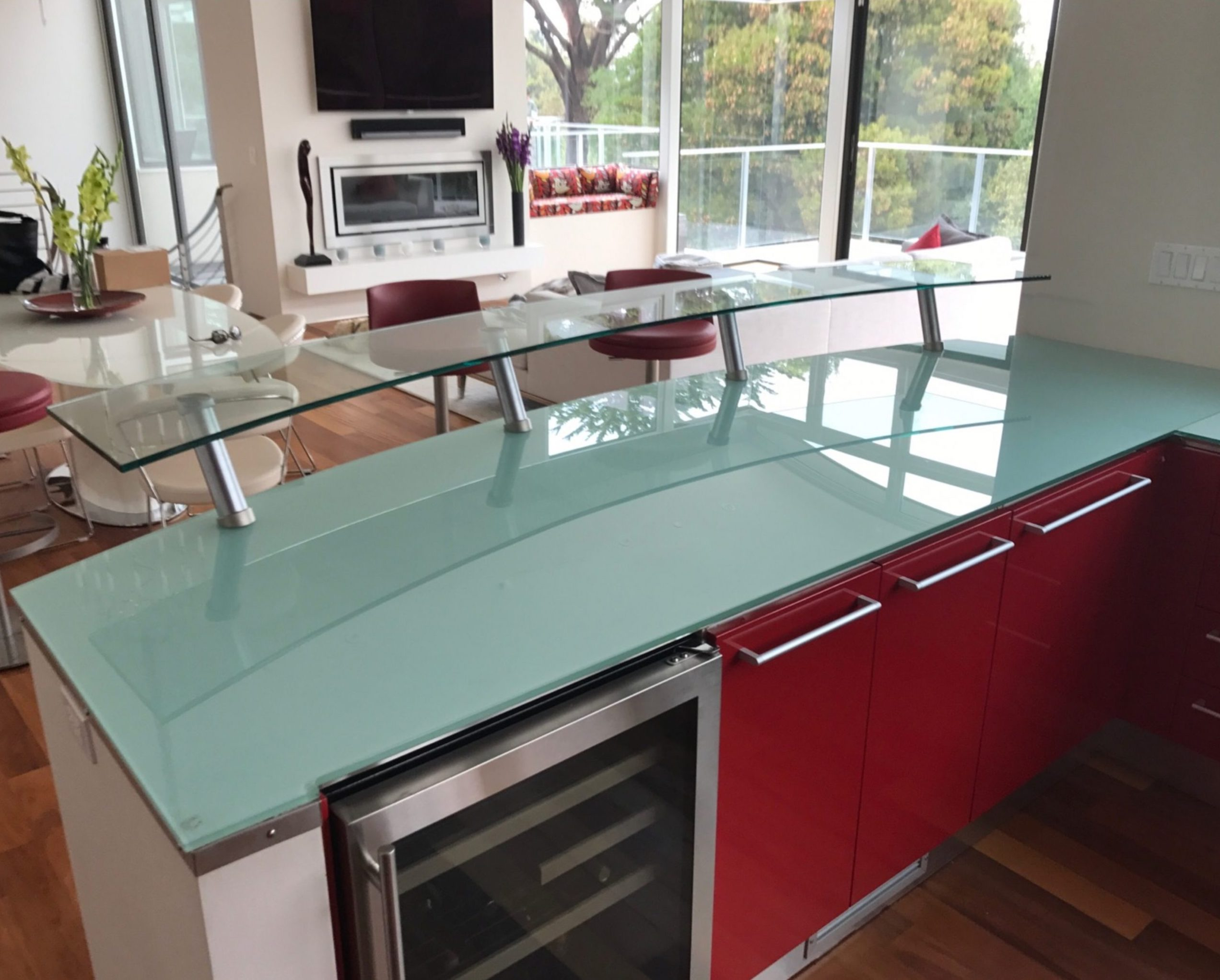 Backpainted Glass Countertop with Glass Breakfast Bar on Stand-offs