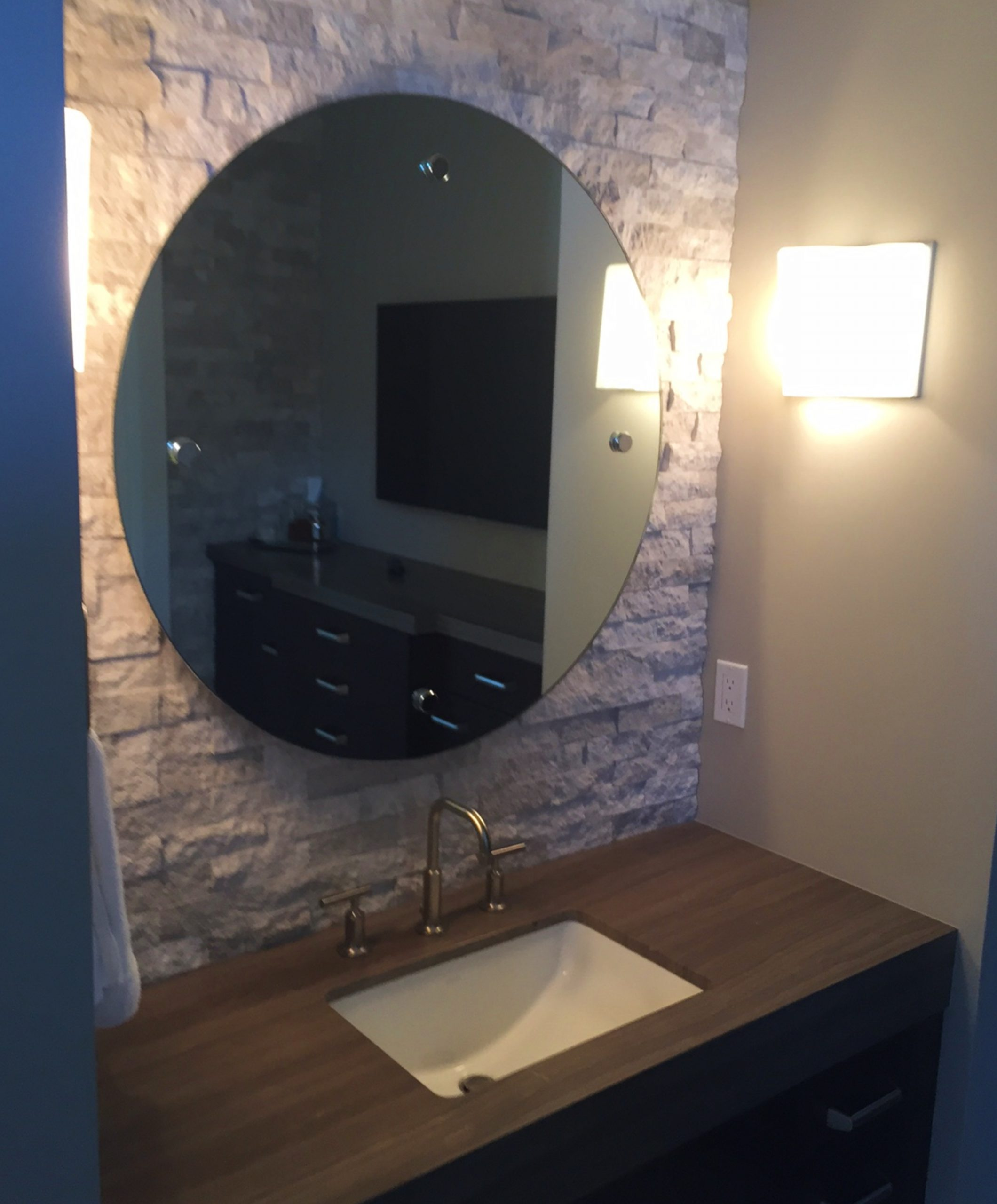 Round Mirror Installed with Standoffs