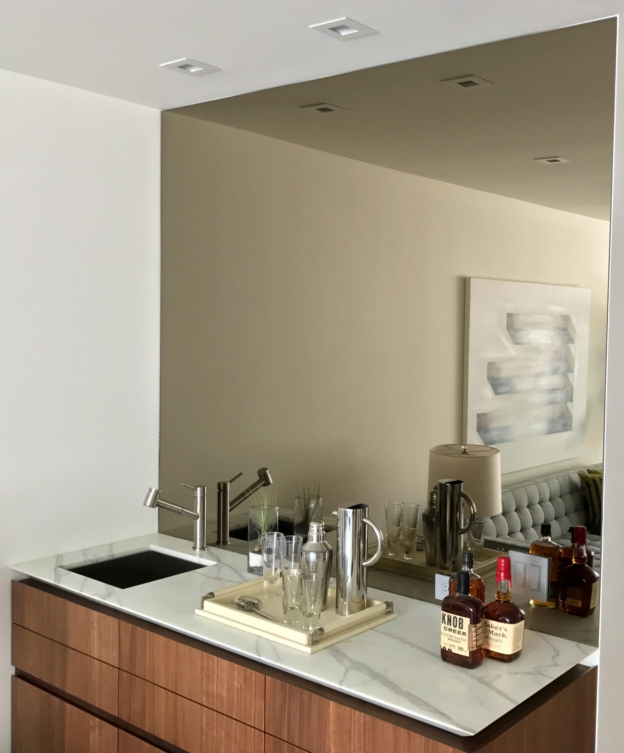 Home Bar Mirror Backsplash