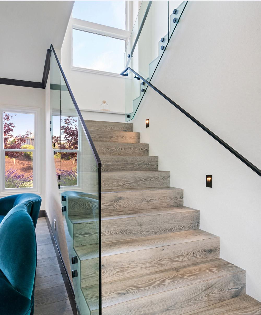 Glass Stair Railing Matte Black