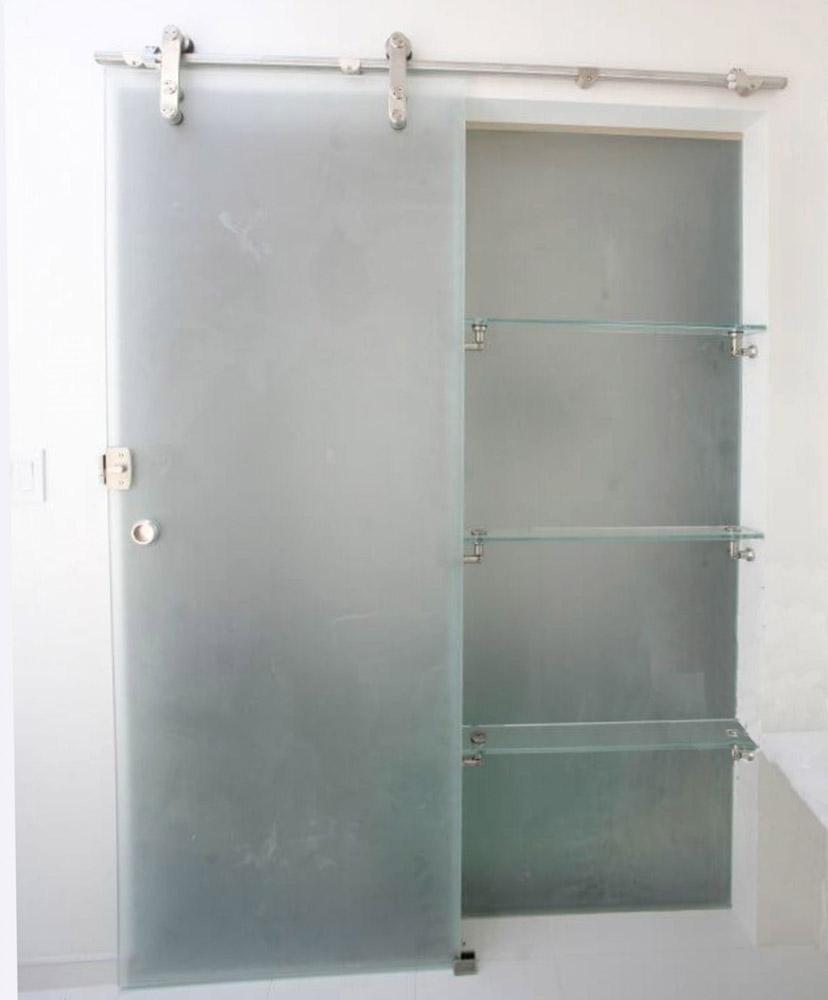 Frosted Glass Barn Door & Glass Shelves