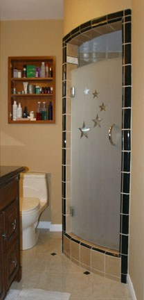 Curved Shower Door with Custom Sandblasted Pattern