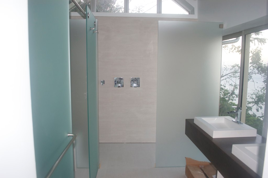 Frameless Satin Shower Screen